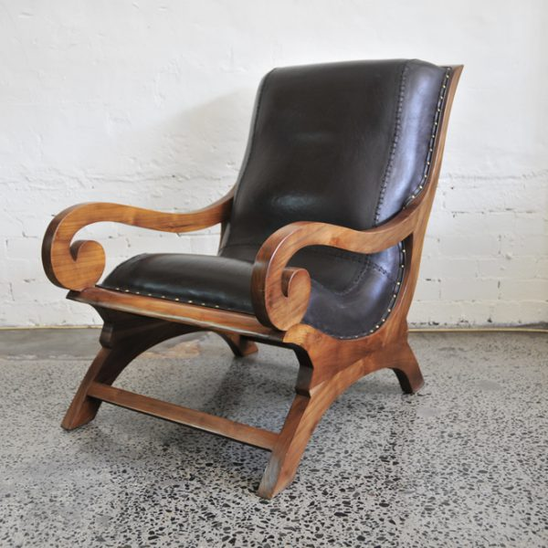 SCROLL TEAK & LEATHER ARMCHAIR