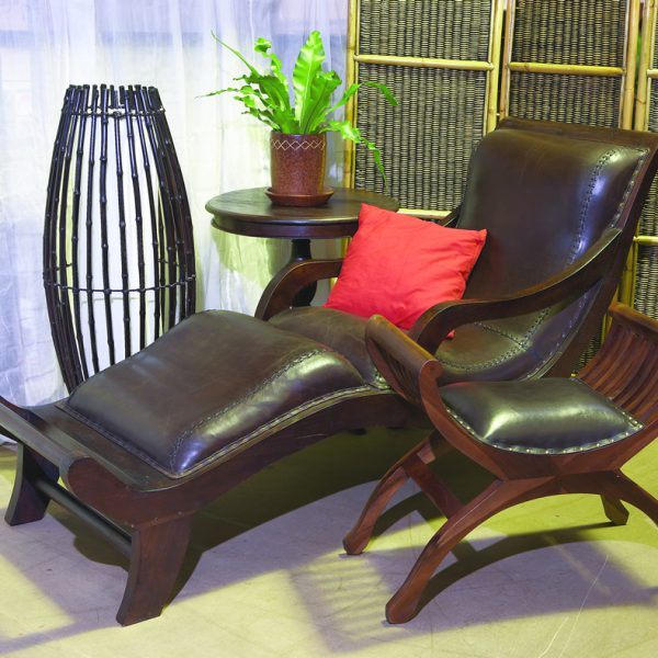 TEAK & LEATHER CHAISE LOUNGE