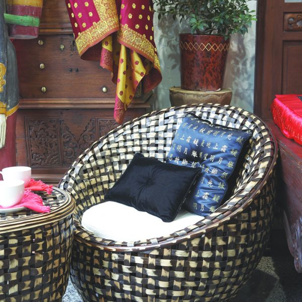 """SUMMER PATIO RANGE: WOVEN DRUM WICKER CHAIR """"CHAIRS & TABLE SETTING"""""""
